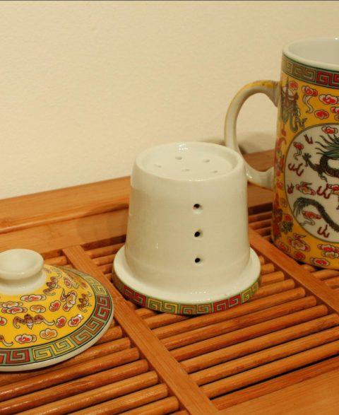 3 Piece Porcelain Tea Infuser Mug (Dragon)