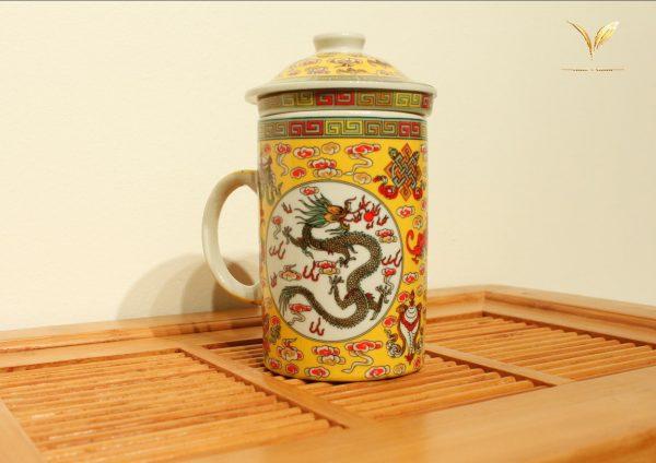 3 Piece Porcelain Tea Infuser Mug (Dragon)